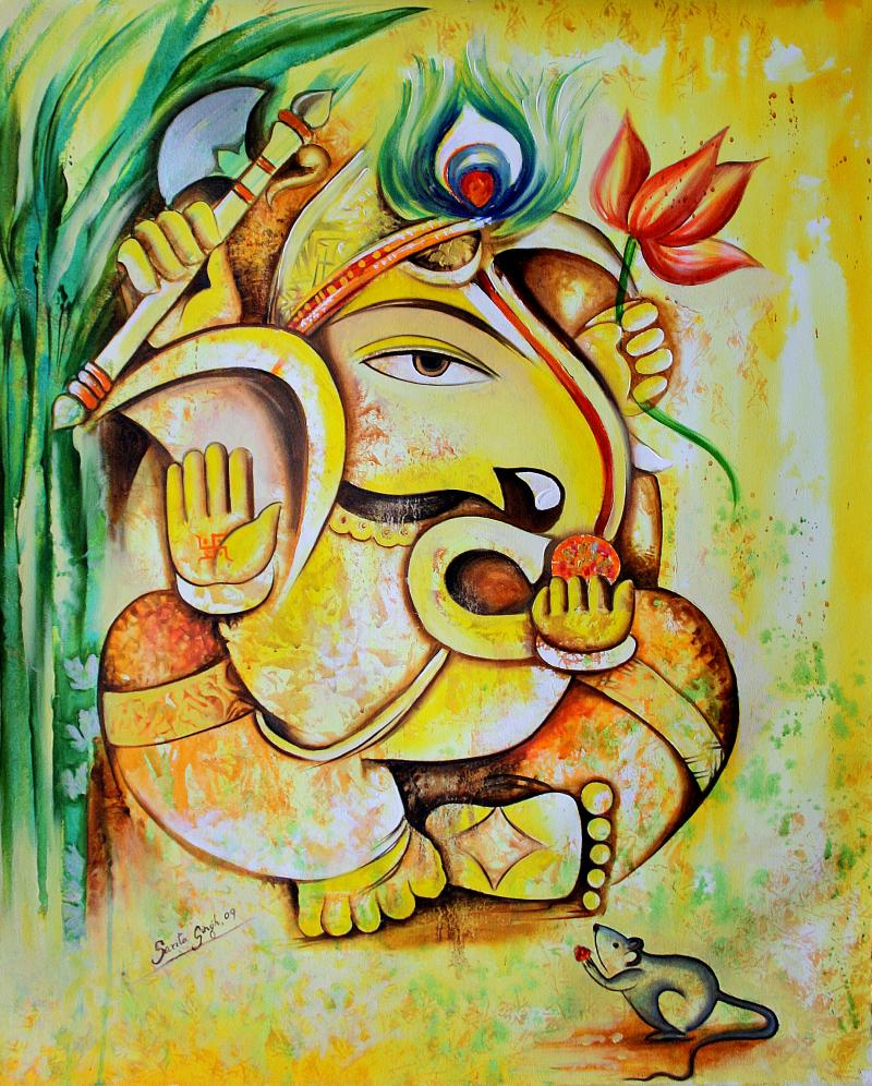 Saritas gallery for Mural art of ganesha