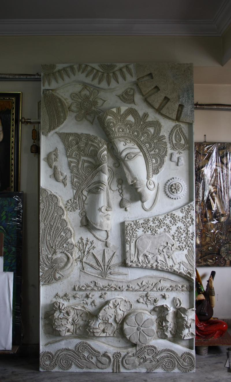 Radha Krishna Mural In Mixed Midea Before Colouring, Size 8u0027x4u0027 Part 93